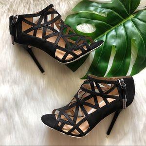 L.A.M.B. Black Flower Strappy Caged Peep Toe Heels